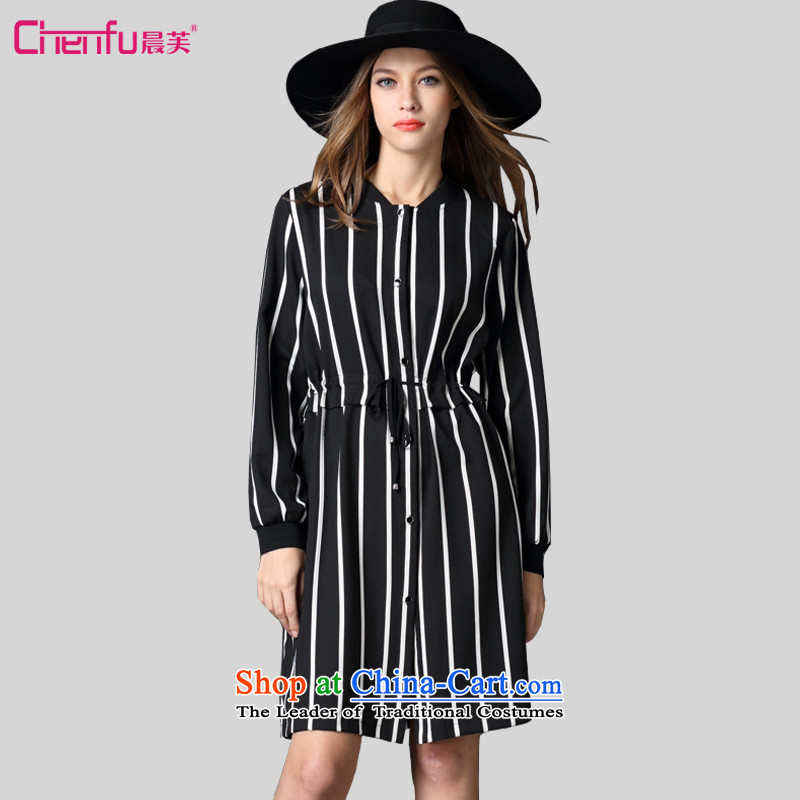 Morning to 2015 autumn and winter large female new European site western thick mm tether Sau San Video Foutune of long-sleeved streaks thin stylish black skirt聽2XL聽recommendations 136-150 catty