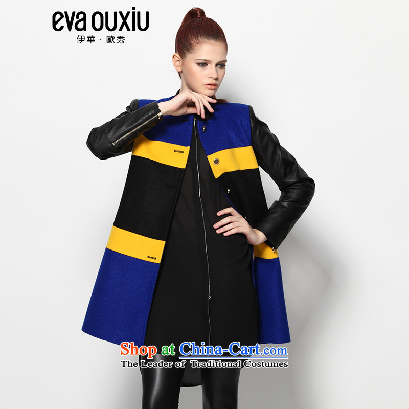 Evaouxiu autumn and winter female streaks gross? warm jacket spell leather lounge gross black Blue燤?
