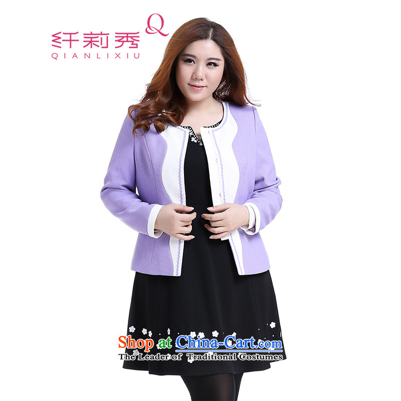 The former Yugoslavia Li Sau 2014 autumn large new video thin knocked color round-neck collar small wind jacket Q6137 Heung-purple燲L