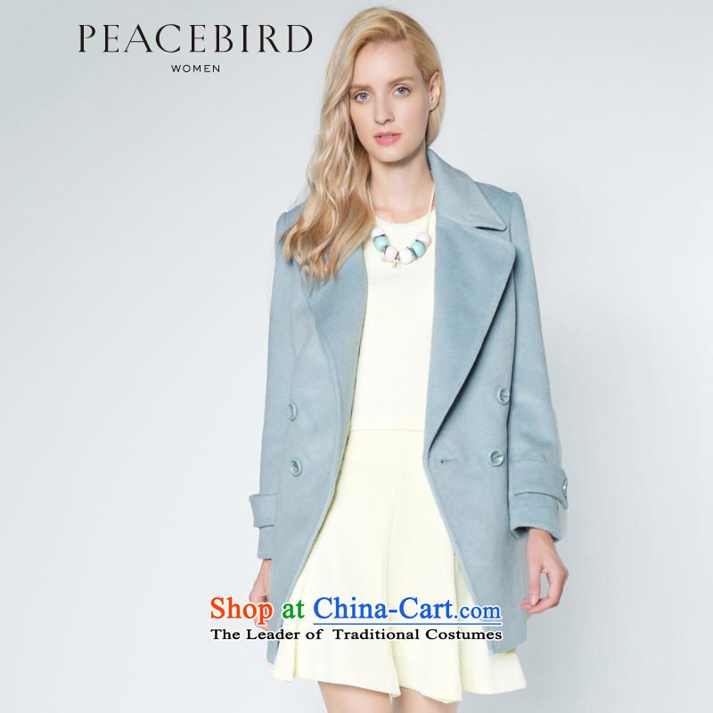 Women Peacebird 2014 winter clothing new roll collar and coats A4AA34101 light blueL