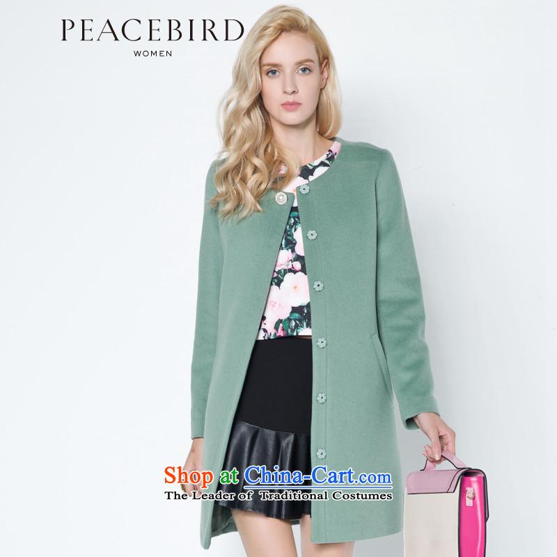 Women Peacebird 2014 winter clothing new round-neck collar straight body shape coats A4AA34102 GREEN聽S