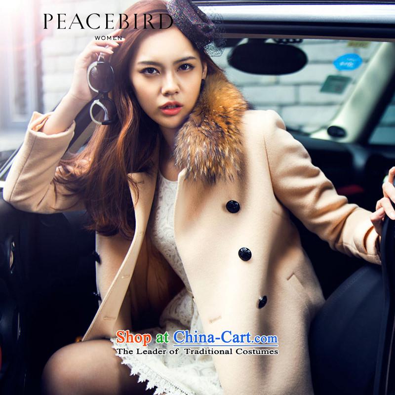 Women Peacebird 2014 winter clothing new lapel coatsA4AA34107apricotL