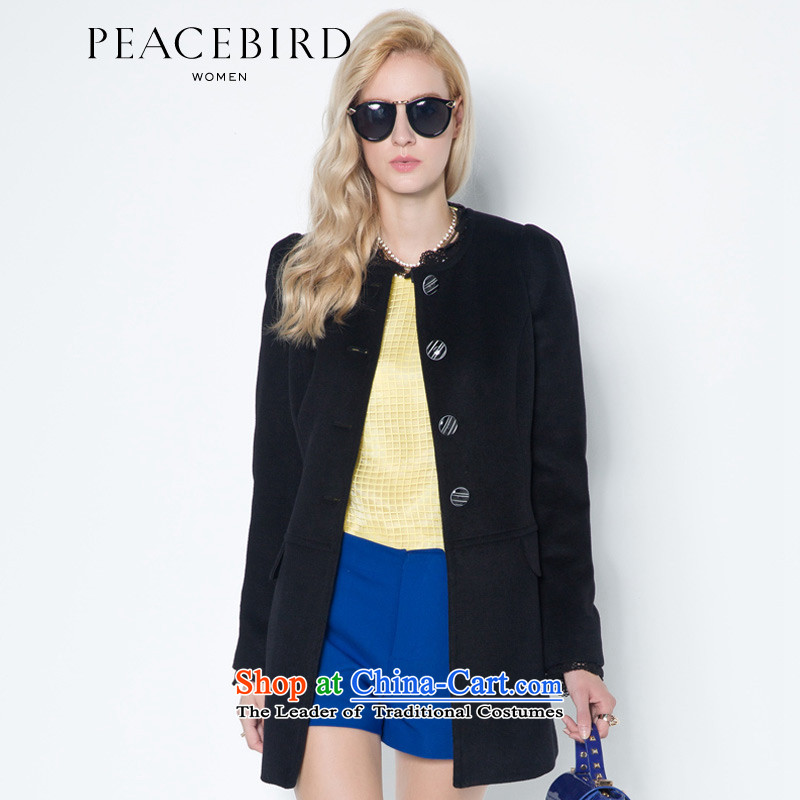 Women Peacebird 2014 winter clothing new pannelled lace coats A4AA34108 Black燲L