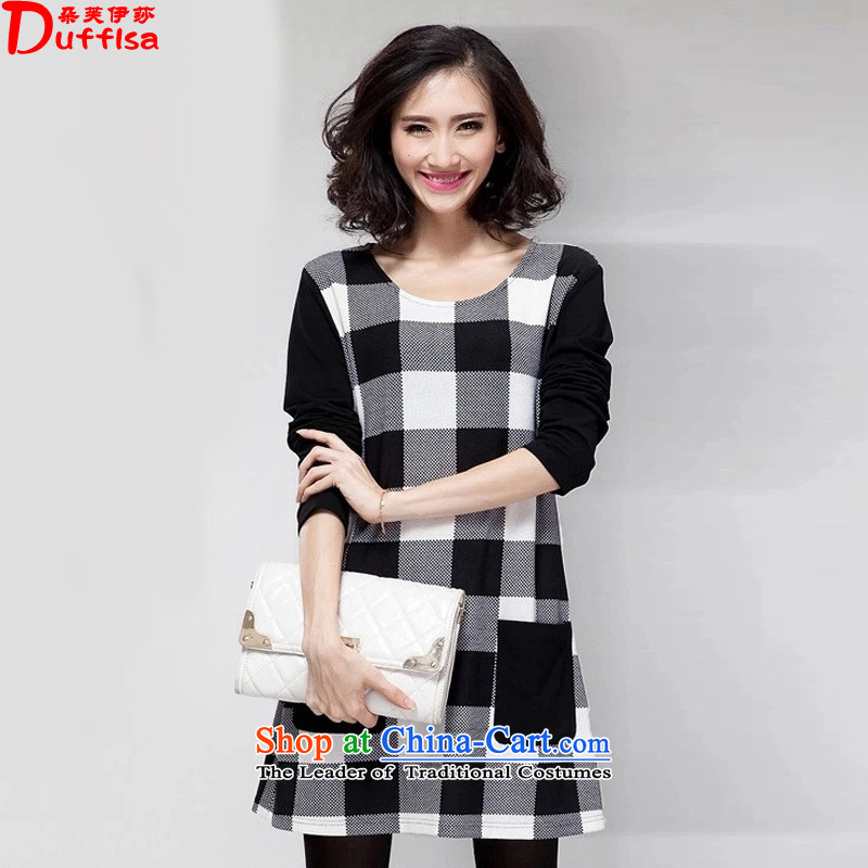 Flower to Isabelle�15 Autumn replacing the new Fat MM to xl loose video thin latticed stitching long-sleeved dresses female D7234 picture color�L