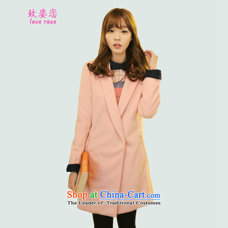 In 2014 Winter Land Gigi Lai new coats female Korea gross? Edition autumn and winter stylish Sau San Barbie Ms. pink jacket coat of gross? pink?XL