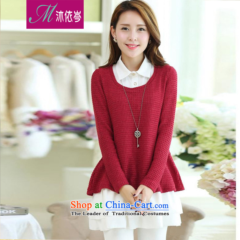 In accordance with the CEN 2015 bathing in the spring and summer new stylish relaxd thick MM larger candy colored long sleeve two kits knitwear dresses 27226_ dark red燣