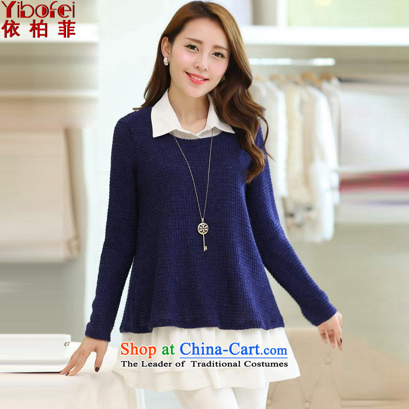 In accordance with the�14 autumn load new thick MM to xl engraving long-sleeved sweater stitching knitting chiffon two kits Y187 female Dark Blue燤