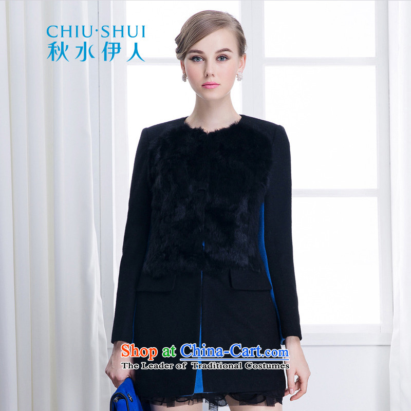 Chaplain who winter clothing new temperament Korean round-neck collar rabbit hair color plane stitching straight-coats?black?165/L 634112034