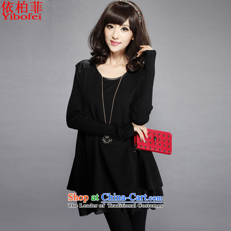In the燼utumn of 2015, according to the installed new thick MM to xl loose video thin leave two chiffon stitching knitted dresses Y189 female black�L