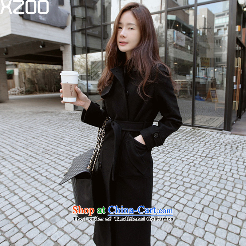 The Korean version of the wool is XZOO coats female a long coat 2015 winter clothing black 165/L catty Paras. 105-115