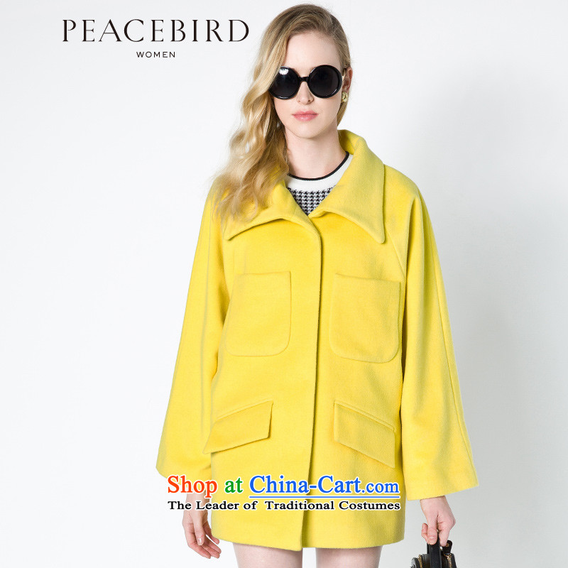 - New shining peacebird women's health short, reverse collar coats A4AA44377 Yellow聽XL