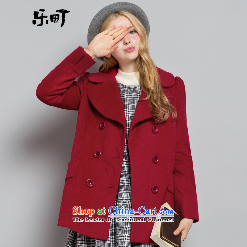 Lok-machi 2015 winter clothing new date of female sweet long coats CWAA44203 RED L