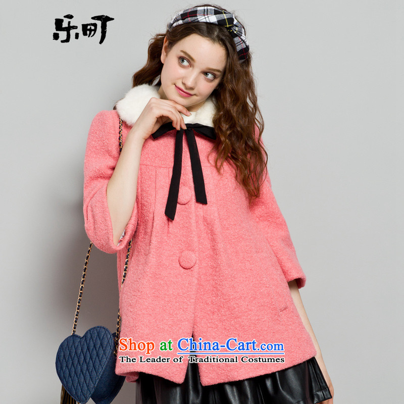 Lok-machi 2015 winter clothing new date of women for spelling gross lace coats red S