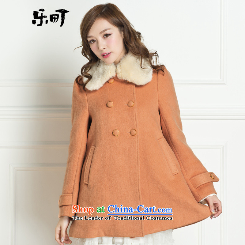 Lok-machi 2015 winter clothing new date of women's gross for classic long coat CWAA44269 ORANGE燣