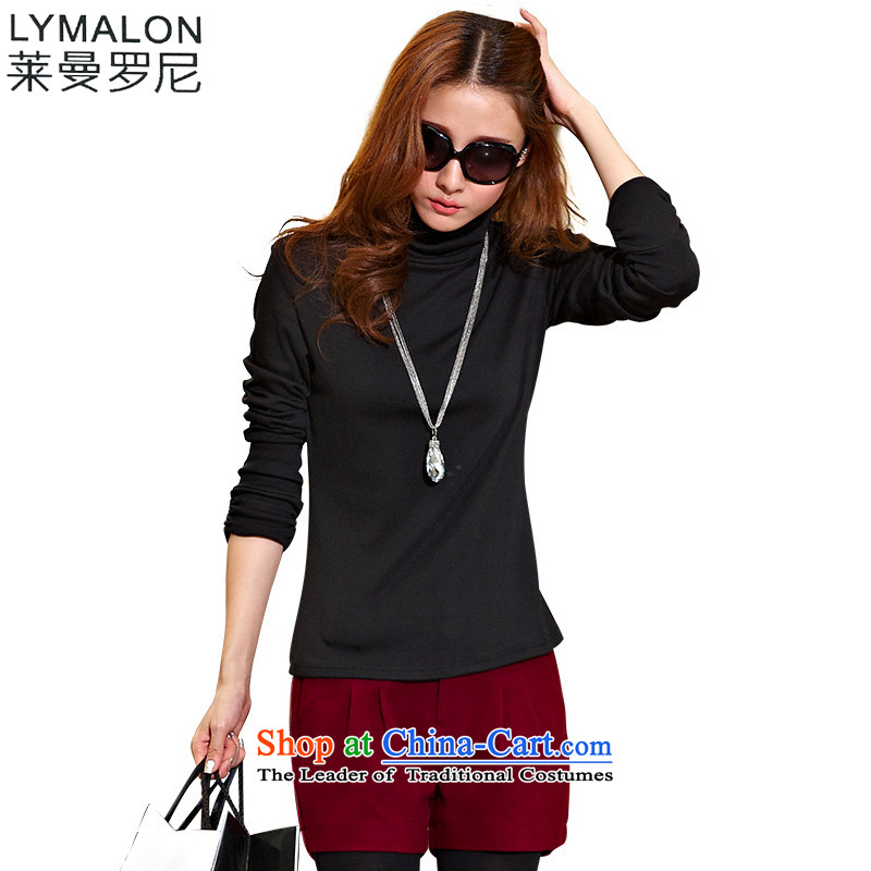 The lymalon lehmann thick, Hin thin 2015 autumn the new Korean version of large numbers of ladies fashion Solid Color High-collar, forming the knitwear聽XXXL 1137 Black