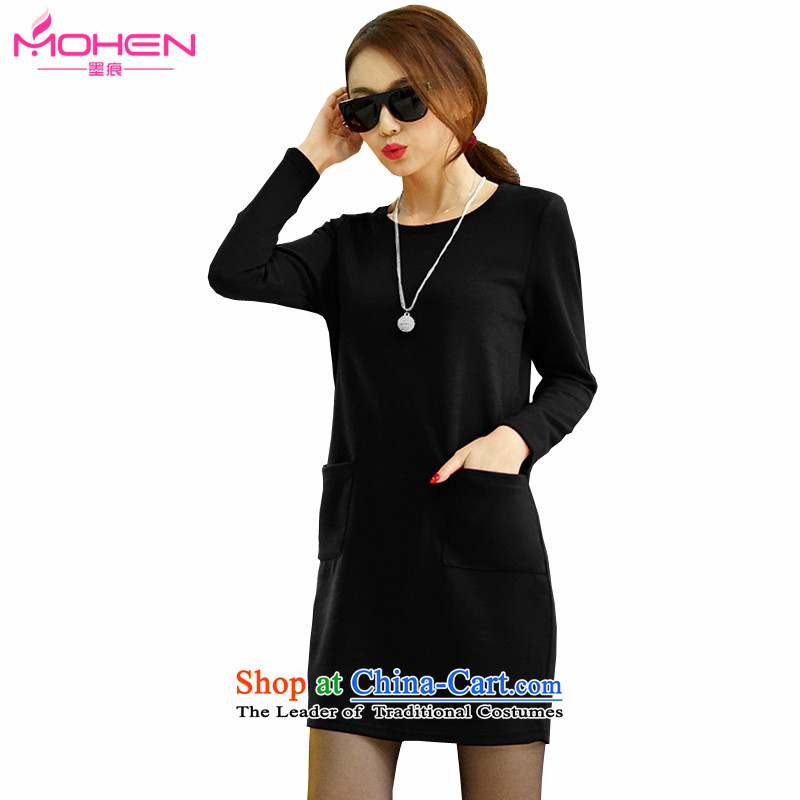 Ink marks Korean autumn and winter, thick MM to increase women's loose in code long skirt kit and pure color knitting forming the long-sleeved shirt short skirts 1342  165-180 suitable for the burden of 4XL( black)