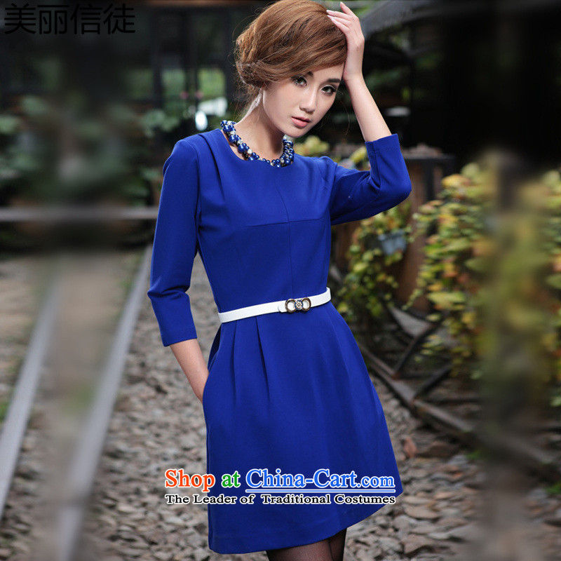 Beautiful  Spring 2015 followers of the new Europe and the new seven large cuff dresses female blue XXXL Sau San