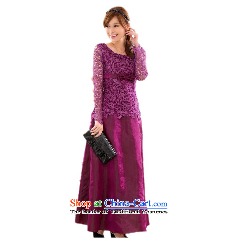 The land is still of clothes small dress 2015 Fall_Winter Collections Western temperament lace elegant evening video thin long-sleeved gown hosted a long skirt bridesmaid dresses purple�L燼bout 155-175 catty