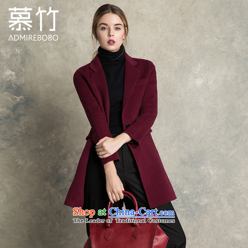 The bamboo Female European station 2015 autumn and winter new double-side cashmere overcoat minimalist suits washable wool a deduction of one capsule gross? female wine red燬 Jacket
