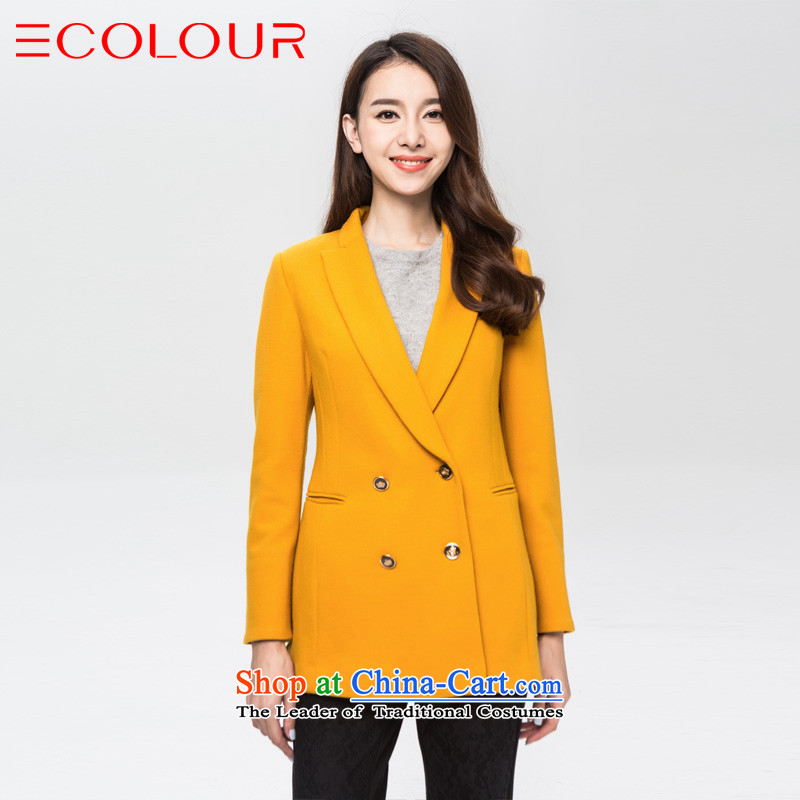 3 Color winter cool suits large selection of roll collar long-sleeved short coats gross? female L/165/88a yellow