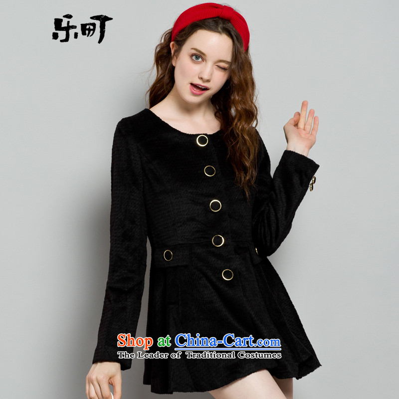 Lok-machi 2015 winter clothing new date of female cover black coat Sau SanS