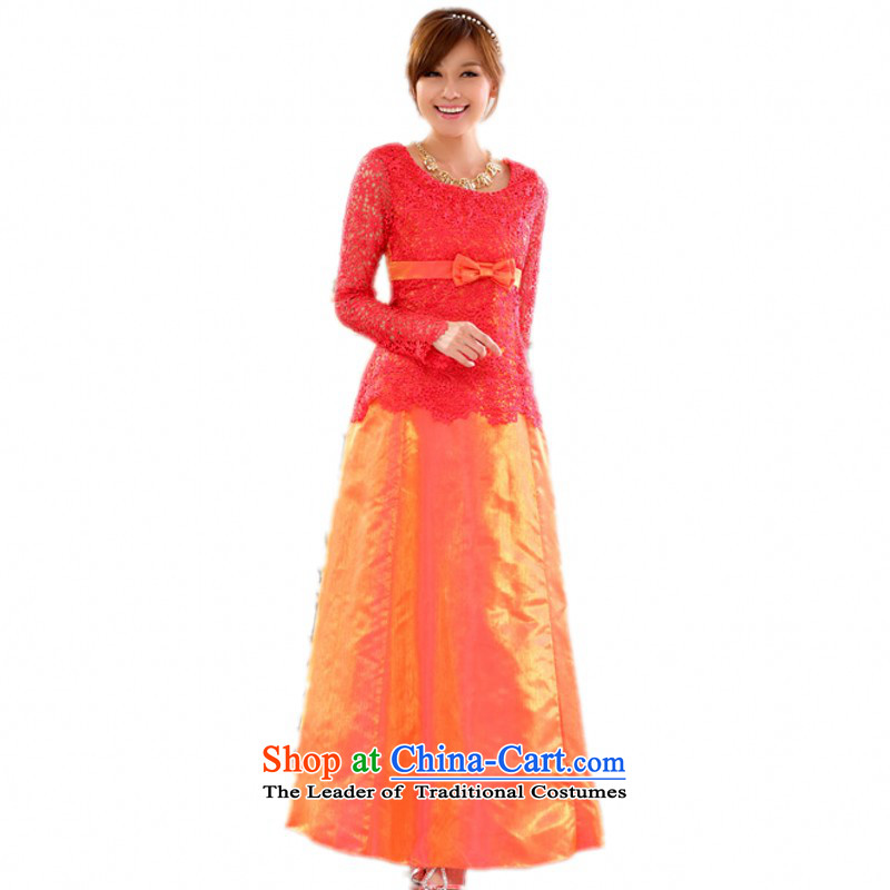 Load the autumn 2015 XL Western Wind hosted a long-sleeved skirt lace engraving large yards _SAPA annual dress sister in the skirt long skirt orange燲L