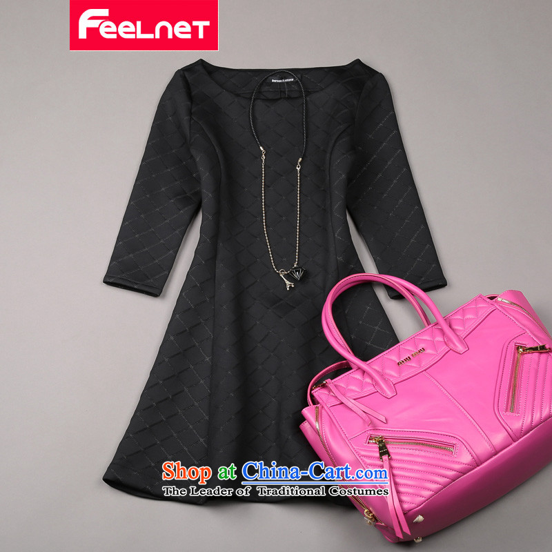 Feelnet thick mm spring 2015 won the new version and a big western code female graphics dresses 1487. thin black large 5XL code