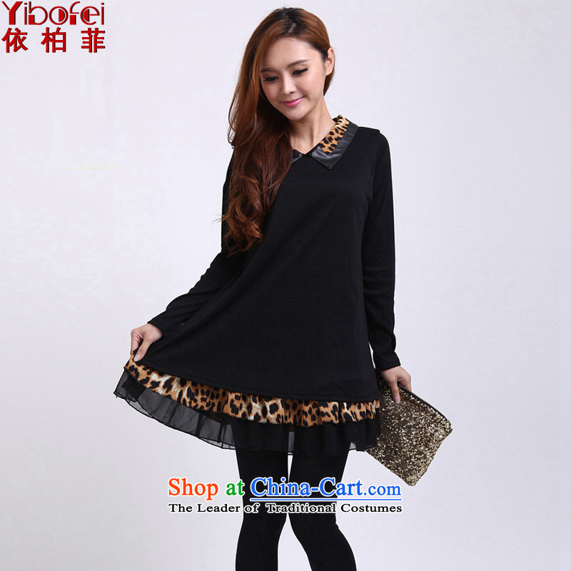 In accordance with thenew 2014 MM to thick xl loose video thin leave two dolls collar leopard spell a series of dresses Y193 female blackXXXL