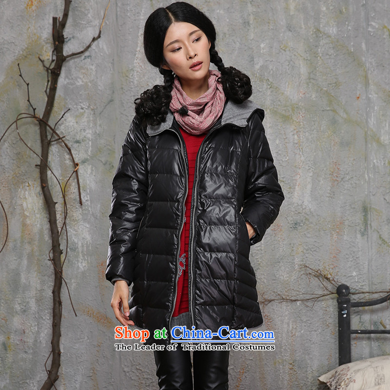 Thick trailing edge of the爊ew Europe and the 2015 high-end 90 per cent white duck down in extra-long female thick sister winter clothing Feather _ thick black jacket�L mm