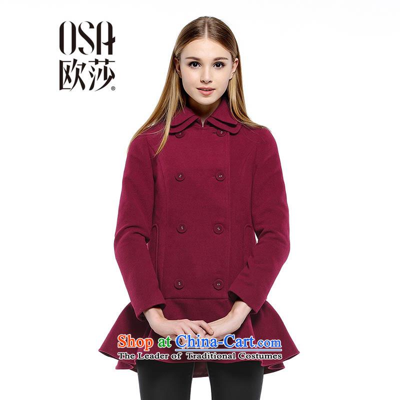 The OSA OSCE Windsor autumn and winter new waves for women under the billowy flounces coats SD421005 gross? jacket dark red燣