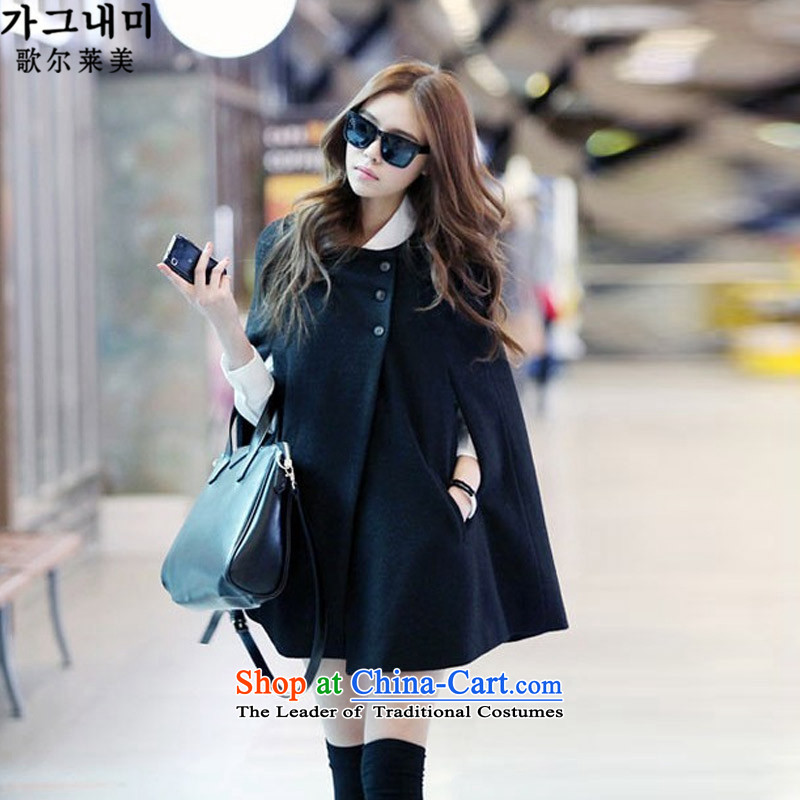 Song's 2015 won the US version of autumn and winter in long loose sleeveless women's low gross female jacket coat? cloak shawl mantle female black M