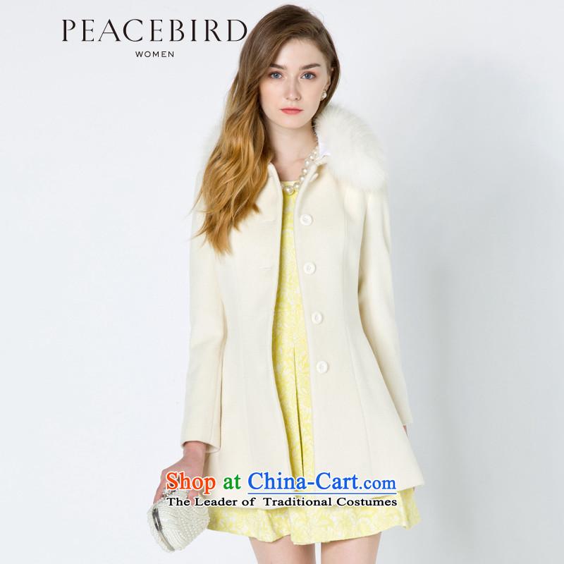 - New shining peacebird Women's Health 2014 winter clothing new lapel coats A4AA44464 White 1 L