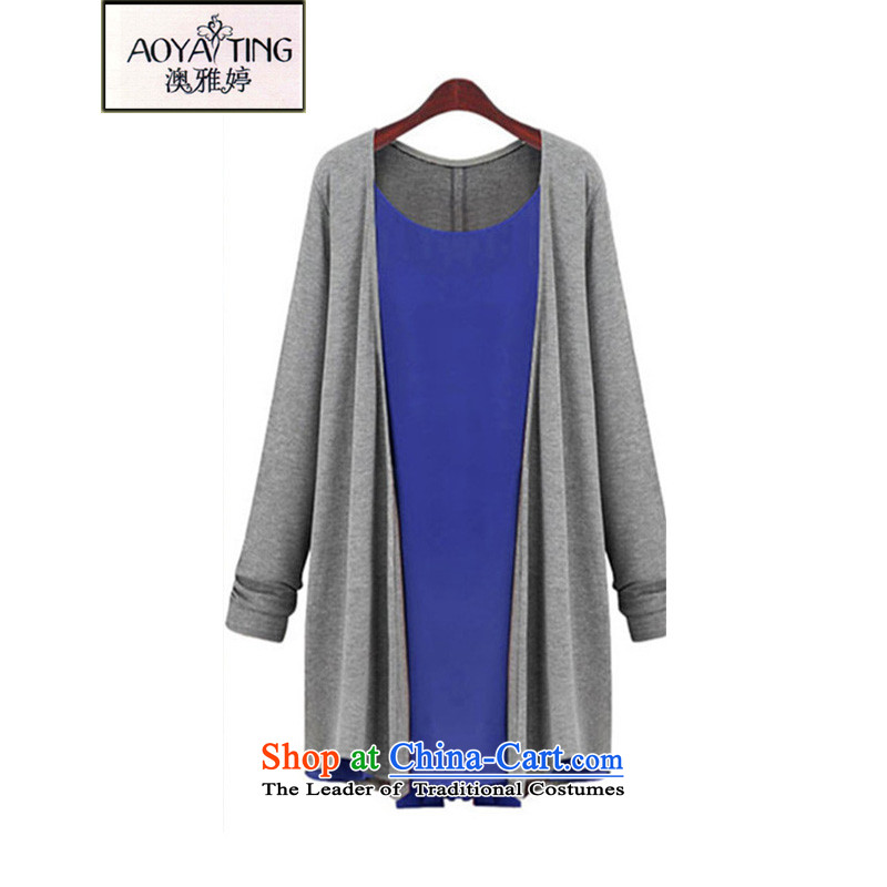 O Ya-ting 2015 autumn and winter new chiffon stitching knitting cardigan leave two T-shirts are 200 mm thick long-sleeved the catty fertilizer ad xl female D9 Blue 4XL recommends that you 160-190 catty