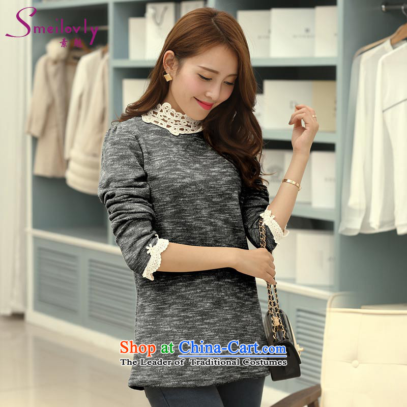 So clearly to xl female thick mm2014 autumn and winter load new high-collar lace stitching lace long-sleeved T-shirt, forming the Netherlands聽1713聽Black聽4XL