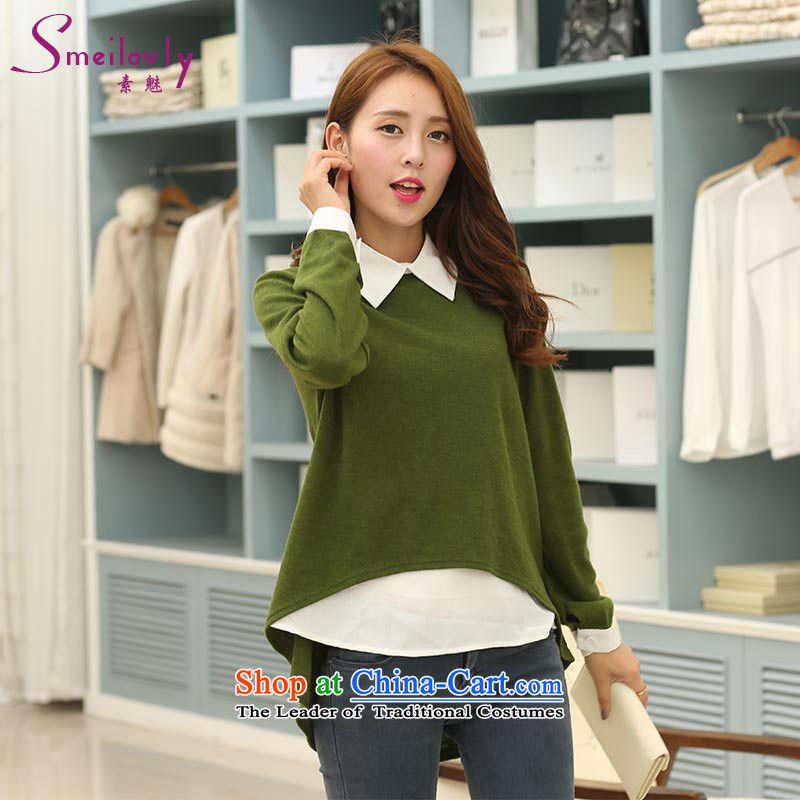 So clearly to xl female thick mm autumn 2014 New Korea boxed version leave two casual shirts燬1716 long-sleeved shirt loose牋3XL green