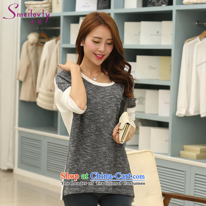 So clearly to xl female thick mm autumn replacing the new SISTER Korean thick leisure. long long-sleeved T-shirt loose cotton爓hite and gray S1714�L around 922.747 160