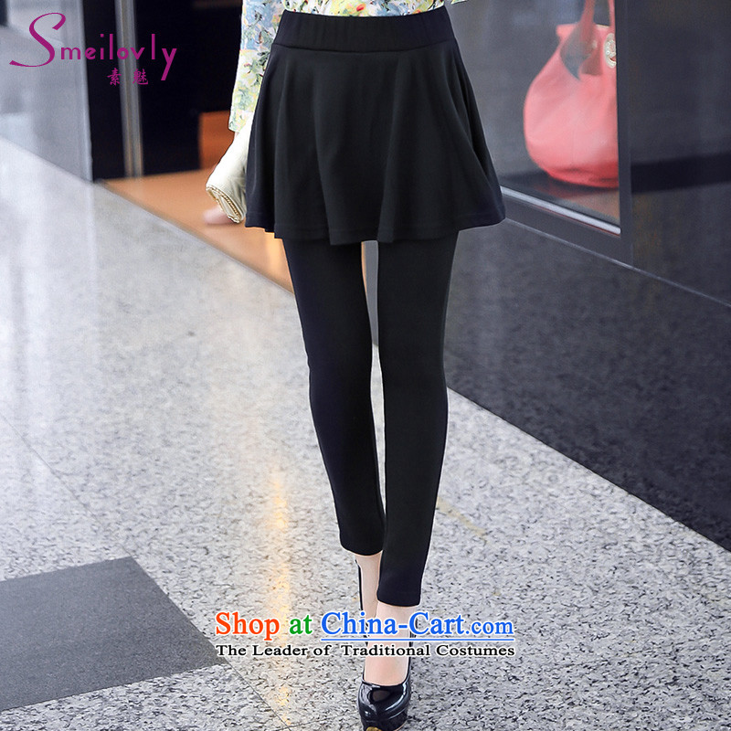 So clearly to xl female mm2014 thick new plus outside through forming the lint-free cleaning woman video skinny legs skort autumn and winter, Black _3XL S9039 lint-free_