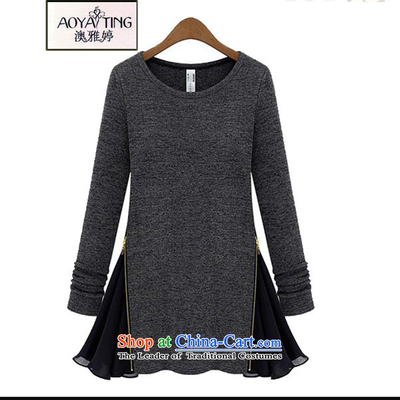 O Ya-ting�15 to increase the number of women in autumn and winter new Fat MM round-neck collar stitching chiffon zip long-sleeved T-shirts are two false knitwear female 1608 carbon燲XXXL