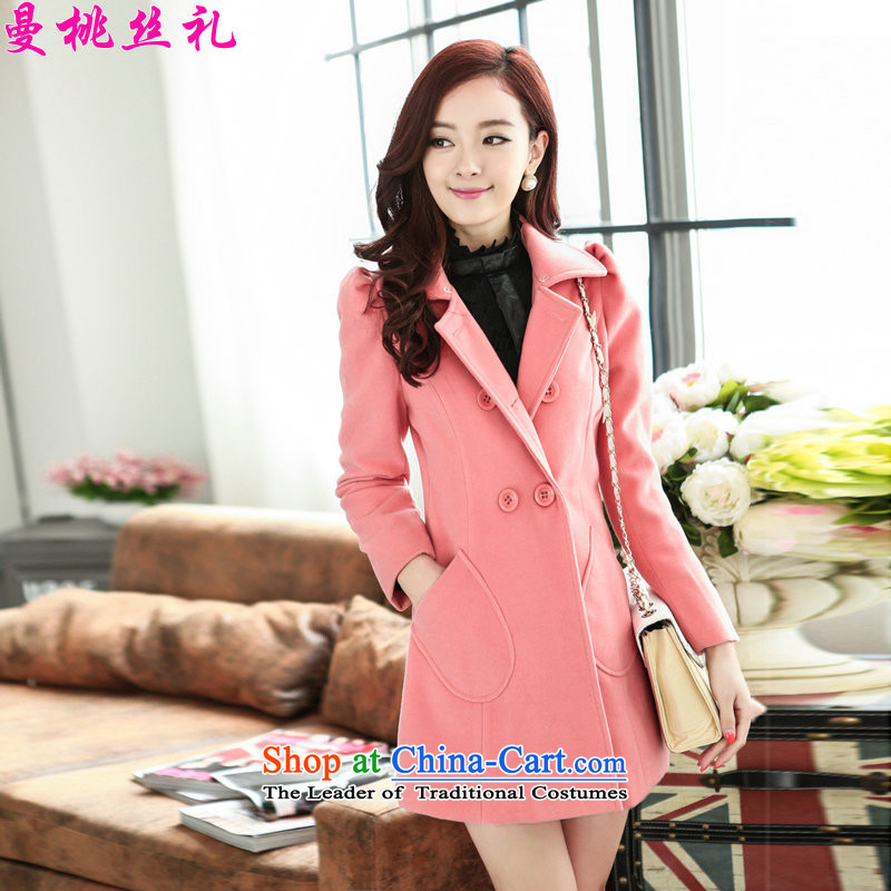 Cayman commercial population Ceremony 2015 autumn and winter new double-jacket girl?? gross sub-coats loose flip video Sau San for gross thin xl woolens pink shirt lint for M