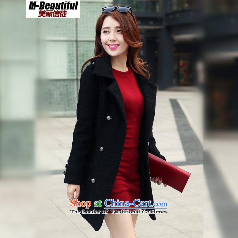 The beautiful believers爋n Winter 2015 female jacket double-Korean OL van a wool coat gross overcoats female black?燬