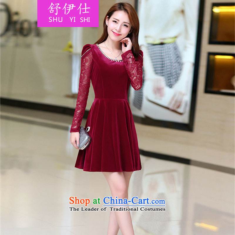 Schui Sze autumn and winter new middle-aged ladies temperament dresses and stylish mother extra female graphics thin Foutune of high-end Kim scouring pads spell lace elegant warm forming the skirt BOURDEAUX燲XL