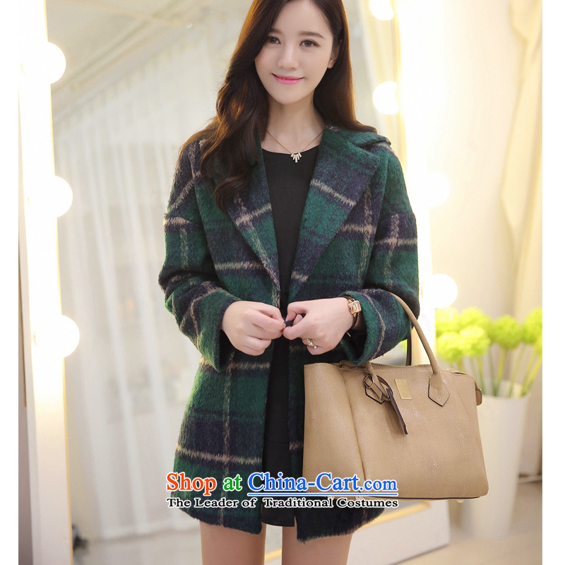Piao Love Ting聽2014 Autumn new gross girls jacket? Long latticed Korean direct cartridge so the autumn and winter coats green tartan聽S