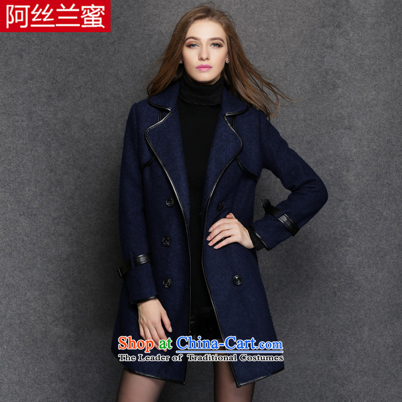The Yucca honey ad intensify thick MM video thin winter clothing larger female PU stitching knocked color wool a wool coat thick coat ZZ1551 3XL_151 Blue - 170 catties wearing_ Jin
