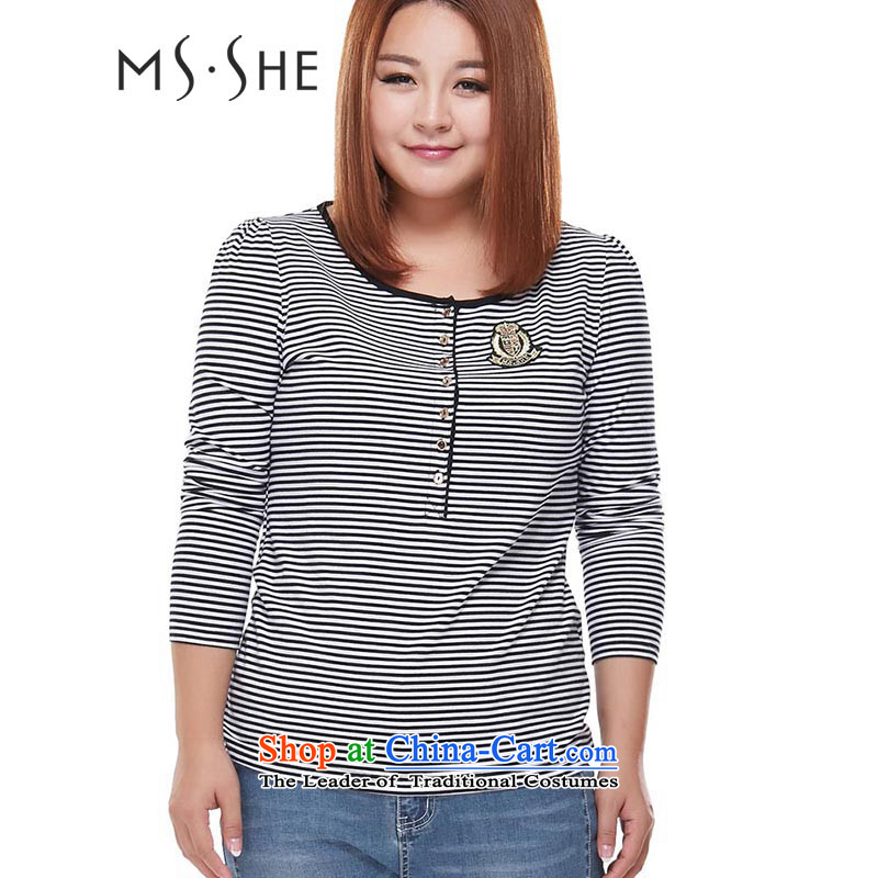 Msshe xl women 2015 mm thick fall inside the streaks graphics thin long-sleeved shirt, forming the knitwear T-shirt, black-and-white 3XL 3085