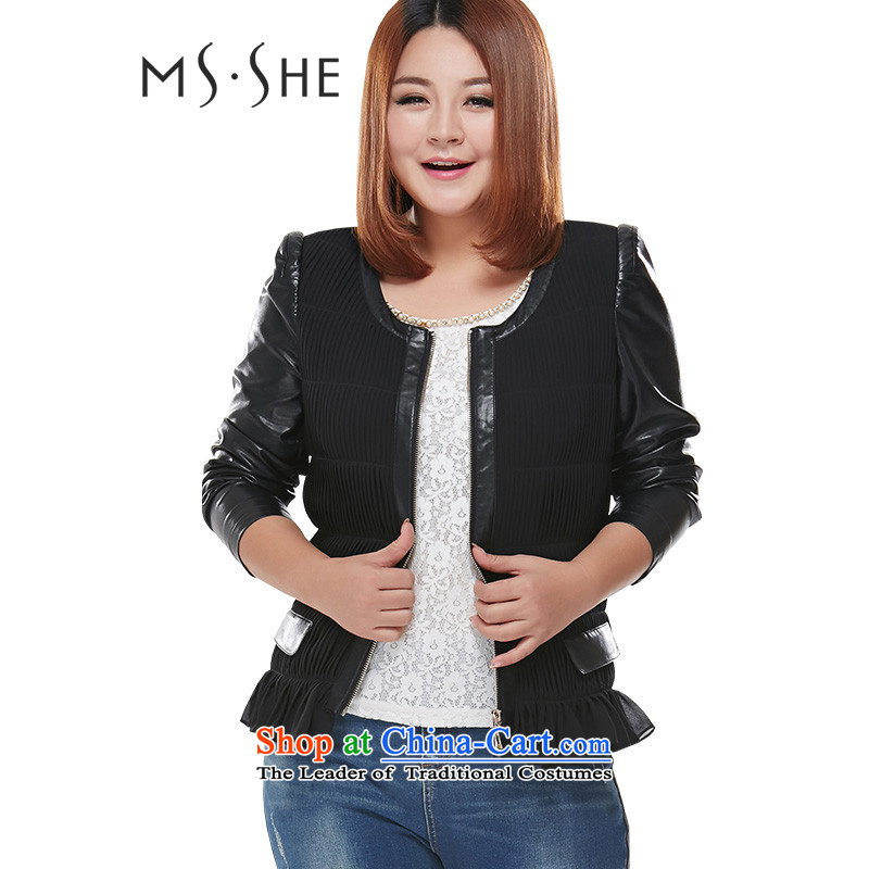 Load the autumn msshe2015 xl female round-neck collar like Susy Nagle yi 7503 Black�L swing Jacket