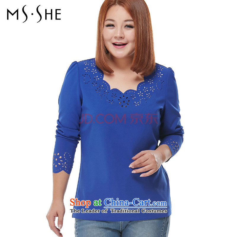 Load the autumn msshe2015 xl female engraving round-neck collar long-sleeved shirt blue3XL fell from 7,773 in September