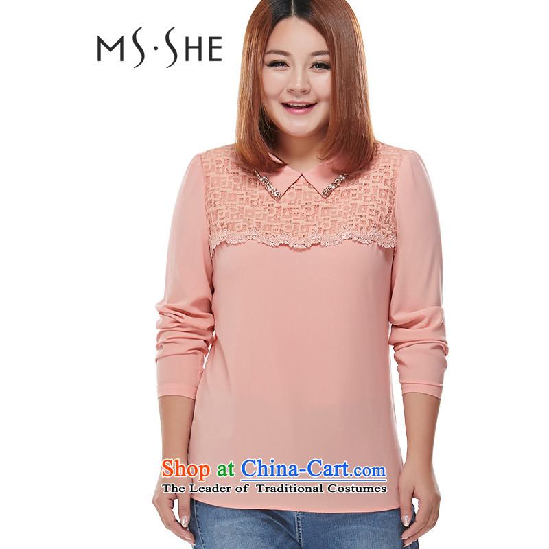 Msshe xl women 2015 new autumn replacing sweet women wear shirts lapel of long-sleeved shirt 7776�L Pink