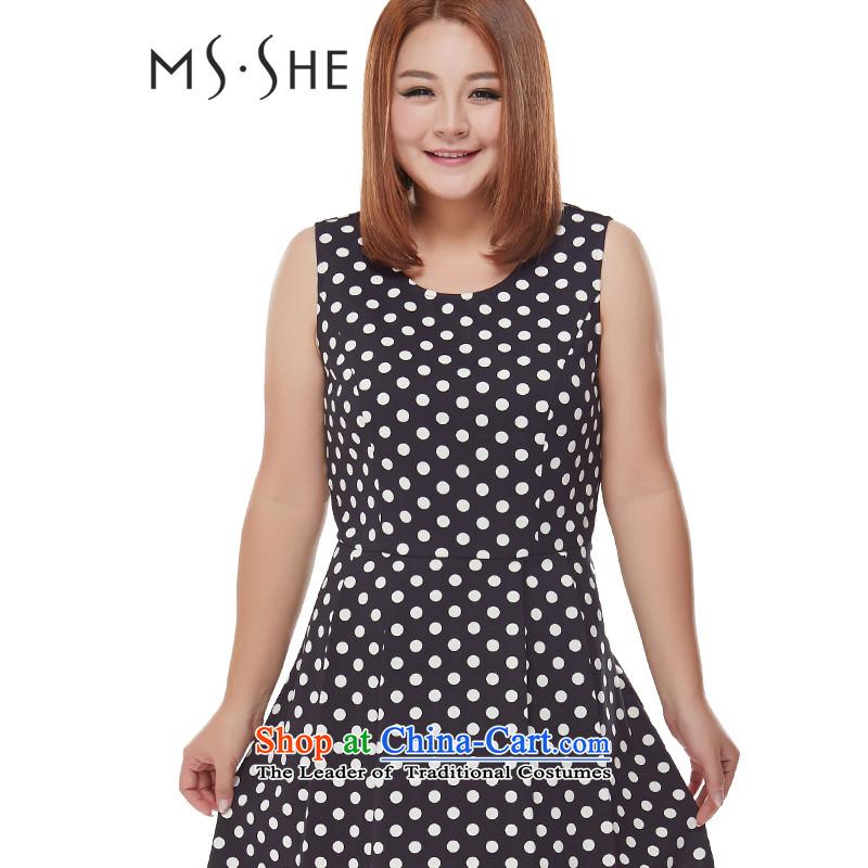 Msshe xl women 2015 new fall inside the round-neck collar black and white point dot wave sleeveless jacket skirt bon bon skirt 7470 Black Spots2XL