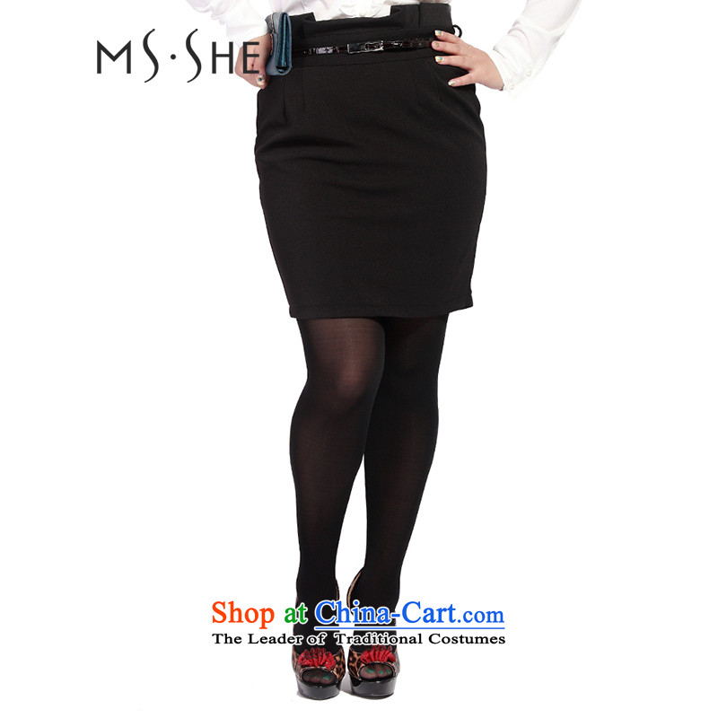 Msshe xl female body skirt autumn 2015 Graphics thin body skirt attire OL waist belts to dress up 120829 black聽T4