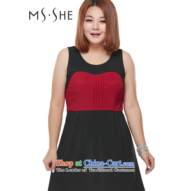 Msshe xl women 2015 mm thick autumn new product licensing stitching knocked color vest skirt dresses XXL3103 black�L